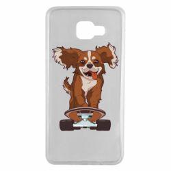 Чехол для Samsung A7 2016 Собака Кавалер на Скейте