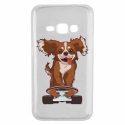 Чехол для Samsung J1 2016 Собака Кавалер на Скейте