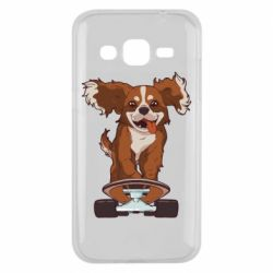 Чехол для Samsung J2 2015 Собака Кавалер на Скейте