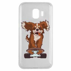 Чехол для Samsung J2 2018 Собака Кавалер на Скейте