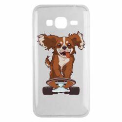Чехол для Samsung J3 2016 Собака Кавалер на Скейте