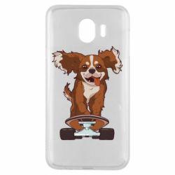 Чехол для Samsung J4 Собака Кавалер на Скейте