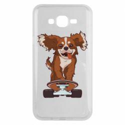 Чехол для Samsung J7 2015 Собака Кавалер на Скейте