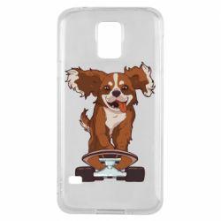Чехол для Samsung S5 Собака Кавалер на Скейте