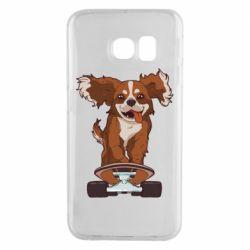 Чехол для Samsung S6 EDGE Собака Кавалер на Скейте