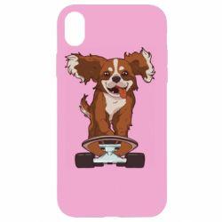 Чехол для iPhone XR Собака Кавалер на Скейте