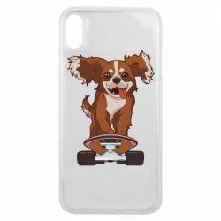 Чехол для iPhone Xs Max Собака Кавалер на Скейте