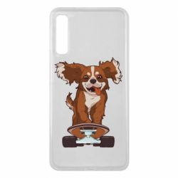 Чехол для Samsung A7 2018 Собака Кавалер на Скейте