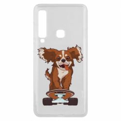 Чехол для Samsung A9 2018 Собака Кавалер на Скейте