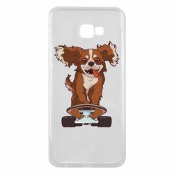 Чехол для Samsung J4 Plus 2018 Собака Кавалер на Скейте