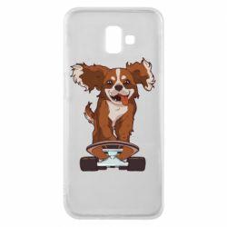 Чехол для Samsung J6 Plus 2018 Собака Кавалер на Скейте