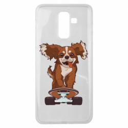 Чехол для Samsung J8 2018 Собака Кавалер на Скейте