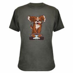 Камуфляжная футболка Собака Кавалер на Скейте