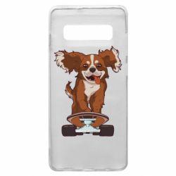 Чехол для Samsung S10+ Собака Кавалер на Скейте