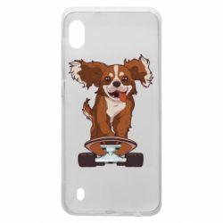 Чехол для Samsung A10 Собака Кавалер на Скейте