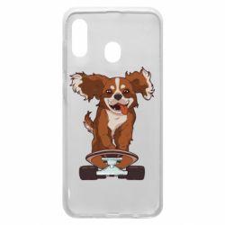 Чехол для Samsung A20 Собака Кавалер на Скейте