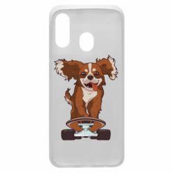 Чехол для Samsung A40 Собака Кавалер на Скейте