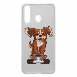 Чехол для Samsung A60 Собака Кавалер на Скейте
