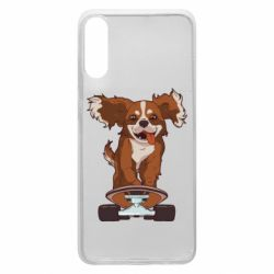 Чехол для Samsung A70 Собака Кавалер на Скейте