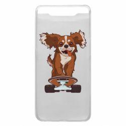 Чехол для Samsung A80 Собака Кавалер на Скейте