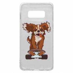 Чехол для Samsung S10e Собака Кавалер на Скейте