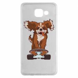 Чехол для Samsung A5 2016 Собака Кавалер на Скейте