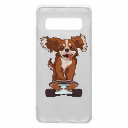 Чехол для Samsung S10 Собака Кавалер на Скейте