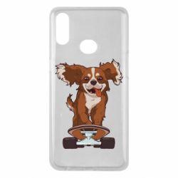 Чехол для Samsung A10s Собака Кавалер на Скейте