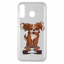 Чехол для Samsung M30 Собака Кавалер на Скейте