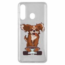 Чехол для Samsung M40 Собака Кавалер на Скейте