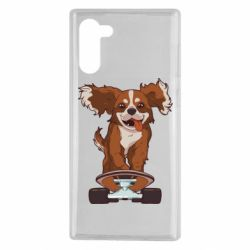 Чехол для Samsung Note 10 Собака Кавалер на Скейте