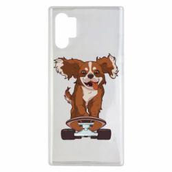 Чехол для Samsung Note 10 Plus Собака Кавалер на Скейте
