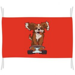 Флаг Собака Кавалер на Скейте
