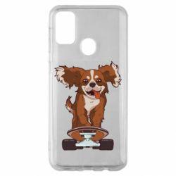 Чехол для Samsung M30s Собака Кавалер на Скейте