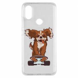 Чехол для Xiaomi Mi A2 Собака Кавалер на Скейте