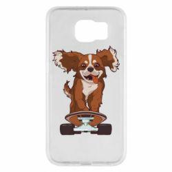Чехол для Samsung S6 Собака Кавалер на Скейте