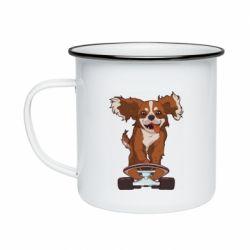 Кружка эмалированная Собака Кавалер на Скейте