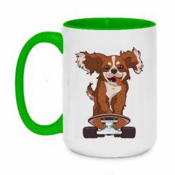 Кружка двухцветная 420ml Собака Кавалер на Скейте