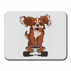 Коврик для мыши Собака Кавалер на Скейте