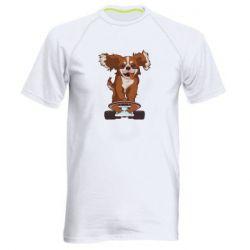 Мужская спортивная футболка Собака Кавалер на Скейте