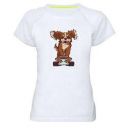 Женская спортивная футболка Собака Кавалер на Скейте