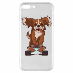 Чехол для iPhone 7 Plus Собака Кавалер на Скейте