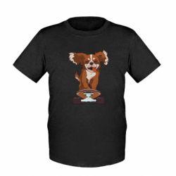 Детская футболка Собака Кавалер на Скейте