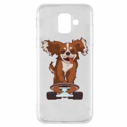 Чехол для Samsung A6 2018 Собака Кавалер на Скейте