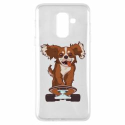 Чехол для Samsung A6+ 2018 Собака Кавалер на Скейте