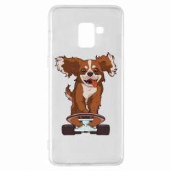 Чехол для Samsung A8+ 2018 Собака Кавалер на Скейте
