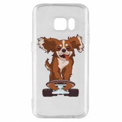 Чехол для Samsung S7 Собака Кавалер на Скейте