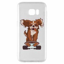 Чехол для Samsung S7 EDGE Собака Кавалер на Скейте