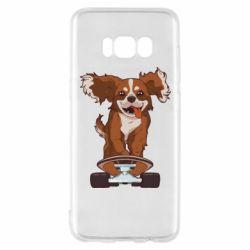Чехол для Samsung S8 Собака Кавалер на Скейте
