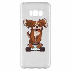 Чехол для Samsung S8+ Собака Кавалер на Скейте